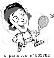 Clipart Of A Black And White Running African American Woman Tennis Player Royalty Free Vector Illustration
