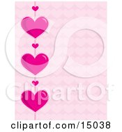 Strand Of Big Pink Hearts And Little Hearts Over A Pink Patterned Background Which Would Be Great For Stationery Or A Website Clipart Illustration