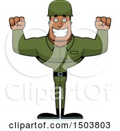 Poster, Art Print Of Cheering Buff African American Male Army Soldier