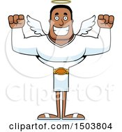 Clipart Of A Cheering Buff African American Male Angel Royalty Free Vector Illustration