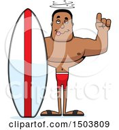 Drunk Buff African American Male Surfer
