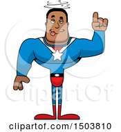Clipart Of A Drunk Buff African American Male Super Hero Royalty Free Vector Illustration
