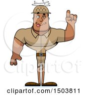 Clipart Of A Drunk Buff African American Male Zookeeper Royalty Free Vector Illustration