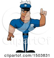 Clipart Of A Drunk Buff African American Male Police Officer Royalty Free Vector Illustration