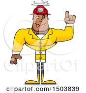 Clipart Of A Drunk Buff African American Male Fire Fighter Royalty Free Vector Illustration