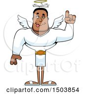 Clipart Of A Drunk Buff African American Male Angel Royalty Free Vector Illustration
