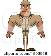 Clipart Of A Bored Buff African American Male Zookeeper Royalty Free Vector Illustration