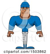 Clipart Of A Bored Buff African American Winter Man Royalty Free Vector Illustration