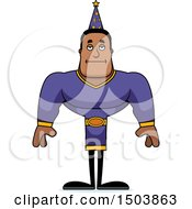 Clipart Of A Bored Buff African American Male Wizard Royalty Free Vector Illustration