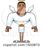 Clipart Of A Bored Buff African American Male Angel Royalty Free Vector Illustration