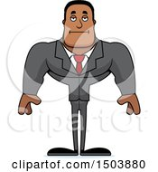 Clipart Of A Bored Buff African American Business Man Royalty Free Vector Illustration