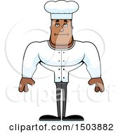 Clipart Of A Bored Buff African American Male Chef Royalty Free Vector Illustration