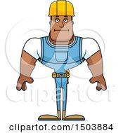 Clipart Of A Bored Buff African American Male Construction Worker Royalty Free Vector Illustration