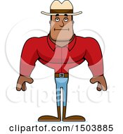 Clipart Of A Bored Buff African American Male Cowboy Royalty Free Vector Illustration