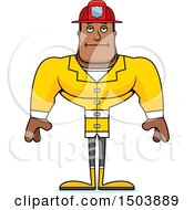 Clipart Of A Bored Buff African American Male Fire Fighter Royalty Free Vector Illustration