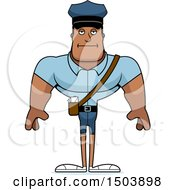 Clipart Of A Bored Buff African American Male Police Officer Royalty Free Vector Illustration