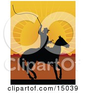Silhouetted Cowboy On Horseback Preparing To Swing A Whip At Sunset Clipart Illustration