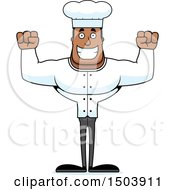 Clipart Of A Cheering Buff African American Male Chef Royalty Free Vector Illustration