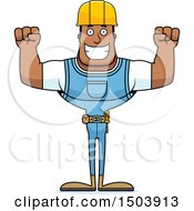 Clipart Of A Cheering Buff African American Male Construction Worker Royalty Free Vector Illustration