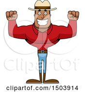 Clipart Of A Cheering Buff African American Male Cowboy Royalty Free Vector Illustration