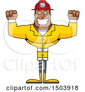 Clipart Of A Cheering Buff African American Male Fire Fighter Royalty Free Vector Illustration