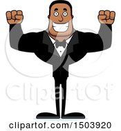 Clipart Of A Cheering Buff African American Male Groom Royalty Free Vector Illustration