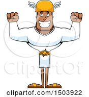 Clipart Of A Cheering Buff African American Male Hermes Royalty Free Vector Illustration