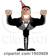 Clipart Of A Cheering Buff African American Party Man Royalty Free Vector Illustration