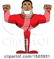 Clipart Of A Cheering Buff African American Man In Pjs Royalty Free Vector Illustration