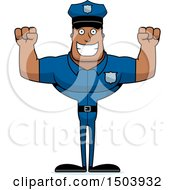 Clipart Of A Cheering Buff African American Male Police Officer Royalty Free Vector Illustration