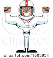Clipart Of A Cheering Buff African American Male Racer Royalty Free Vector Illustration