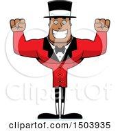 Cheering Buff African American Male Circus Ringmaster