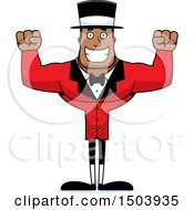 Cheering Buff African American Male Circus Ringmaster