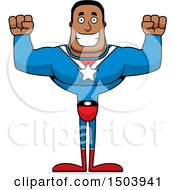 Cheering Buff African American Male Super Hero