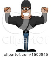 Clipart Of A Cheering Buff African American Male Robber Royalty Free Vector Illustration