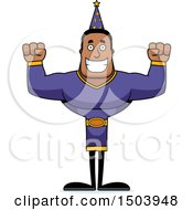 Clipart Of A Cheering Buff African American Male Wizard Royalty Free Vector Illustration