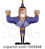 Cheering Buff African American Male Wizard