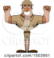 Clipart Of A Cheering Buff African American Male Zookeeper Royalty Free Vector Illustration