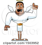 Clipart Of A Buff African American Male Angel With An Idea Royalty Free Vector Illustration