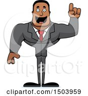 Clipart Of A Buff African American Business Man With An Idea Royalty Free Vector Illustration