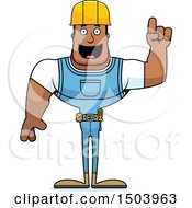 Clipart Of A Buff African American Male Construction Worker With An Idea Royalty Free Vector Illustration