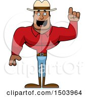 Clipart Of A Buff African American Male Cowboy With An Idea Royalty Free Vector Illustration