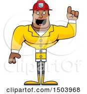 Clipart Of A Buff African American Male Fire Fighter With An Idea Royalty Free Vector Illustration