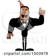 Clipart Of A Buff African American Party Man With An Idea Royalty Free Vector Illustration