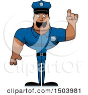 Clipart Of A Buff African American Male Police Officer With An Idea Royalty Free Vector Illustration