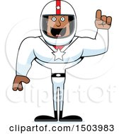 Clipart Of A Buff African American Male Racer With An Idea Royalty Free Vector Illustration