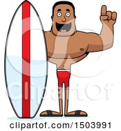 Buff African American Male Surfer With An Idea