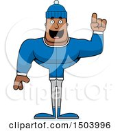 Clipart Of A Buff African American Winter Man With An Idea Royalty Free Vector Illustration
