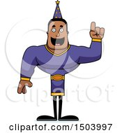 Clipart Of A Buff African American Male Wizard With An Idea Royalty Free Vector Illustration