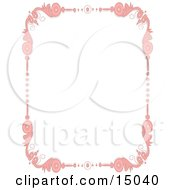 Pretty Pink Quebec Inspired Border With Pink Floral Scrolls Over A White Background Clipart Illustration